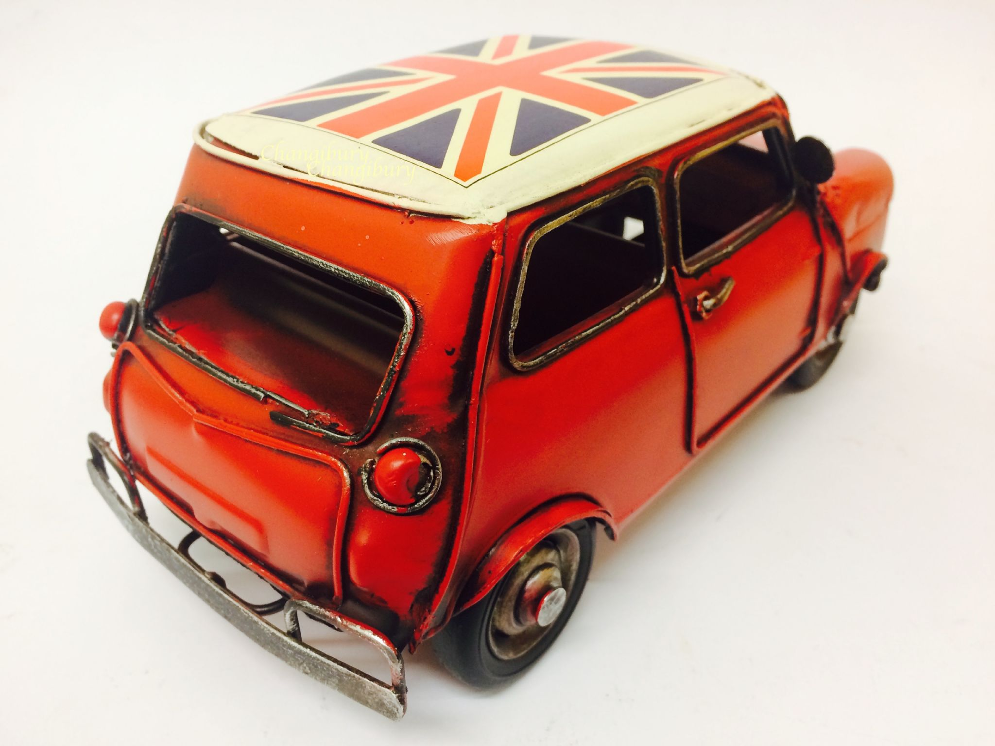 Classic Mini Cooper Red Union Jack Car Model 26cm